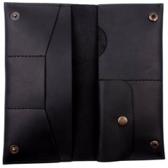 Leather black holder ХР184 Valenta for documents and money